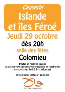 Le Lien Colomiard - causerie Islande et iles Feroe 29 octobre 2015